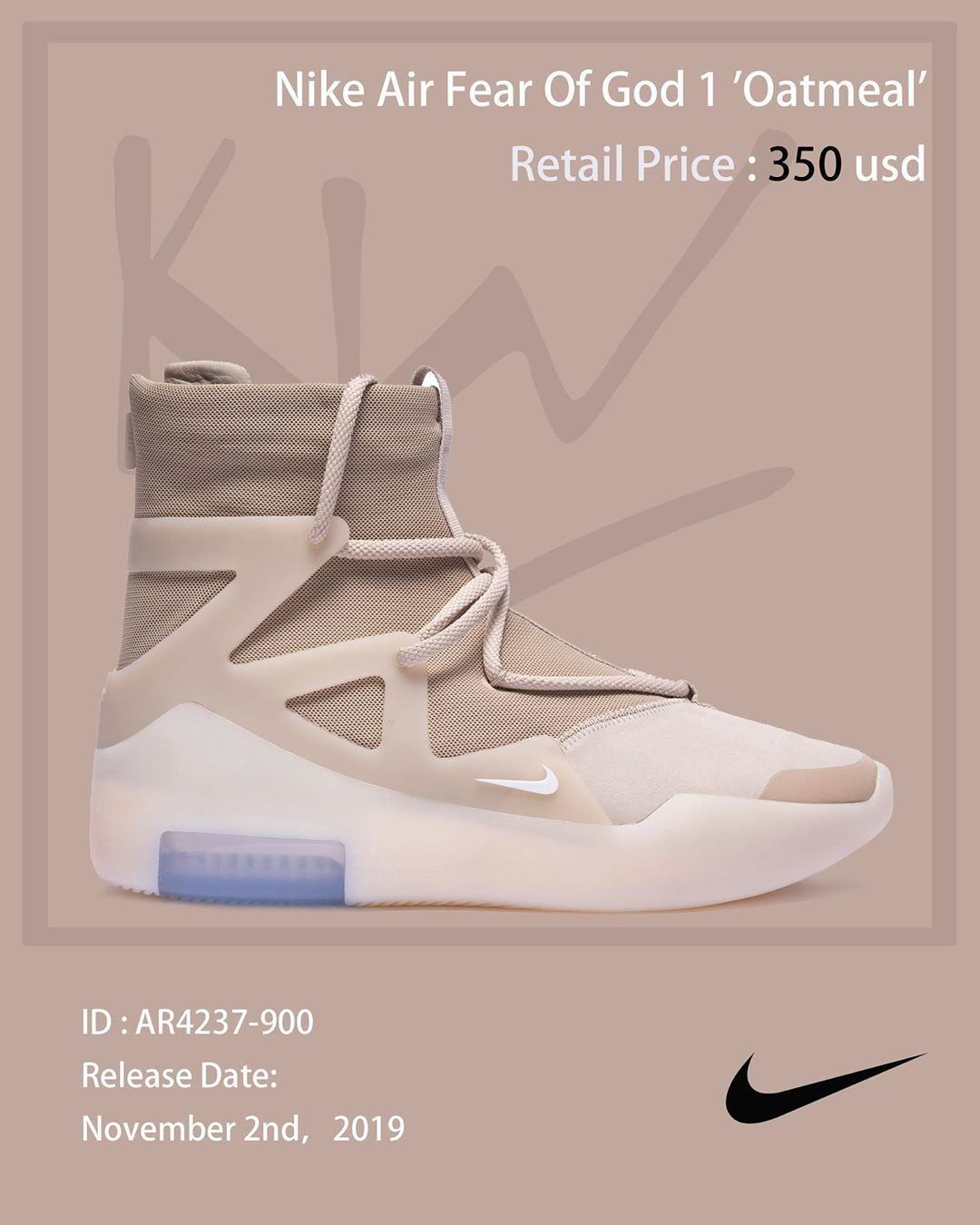 "Nike Air Fear Of God 1 ""Oatmeal"" 货号:AR4237-900"
