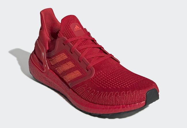 "adidas Ultra Boost 20 ""Triple Red"" 货号:EG0700"